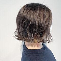 インナーカラー ナチュラル ボブ アプリコットオレンジ ヘアスタイルや髪型の写真・画像