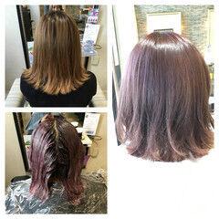 ガーリー ボブ アッシュ ピンクアッシュ ヘアスタイルや髪型の写真・画像