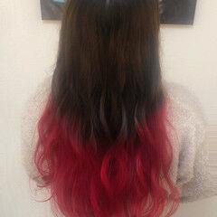 ロング グラデーションカラー ガーリー ヘアスタイルや髪型の写真・画像