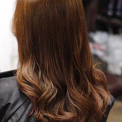 セミロング ブリーチ 外国人風カラー ブラットオレンジ ヘアスタイルや髪型の写真・画像