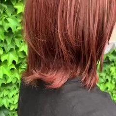大人ハイライト レイヤーカット ウルフカット アプリコットオレンジ ヘアスタイルや髪型の写真・画像