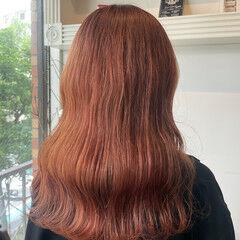 ピンク セミロング ブリーチ ブリーチカラー ヘアスタイルや髪型の写真・画像