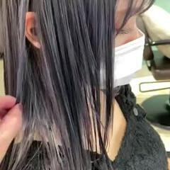 切りっぱなしボブ ブルーラベンダー ラベンダー ラベンダーグレージュ ヘアスタイルや髪型の写真・画像
