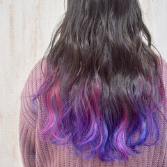 ユニコーン ガーリー カラフルカラー ロング ヘアスタイルや髪型の写真・画像