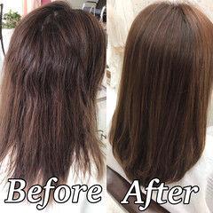 髪質改善トリートメント 縮毛矯正 ツヤ髪 髪質改善 ヘアスタイルや髪型の写真・画像