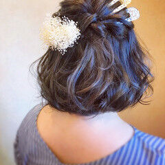 フェミニン ヘアアレンジ 和装ヘア ボブ ヘアスタイルや髪型の写真・画像