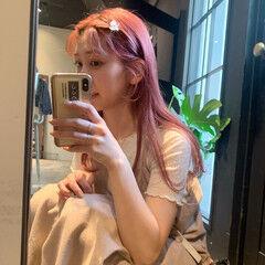 ピンクヘア ロング ナチュラル ピンク ヘアスタイルや髪型の写真・画像