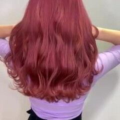 ピンクバイオレット フェミニン セミロング ピンクラベンダー ヘアスタイルや髪型の写真・画像