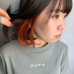 ナチュラル ボブ インナーカラー インナーカラーボブ ヘアスタイルや髪型の写真・画像