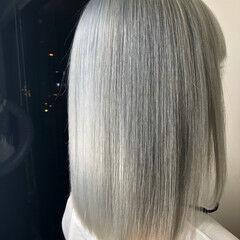 ホワイト ストリート ホワイトシルバー ホワイトアッシュ ヘアスタイルや髪型の写真・画像