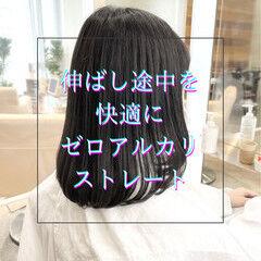 髪質改善 グレージュ ストレート ブリーチなし ヘアスタイルや髪型の写真・画像