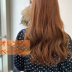 オレンジカラー ガーリー ロング オレンジ ヘアスタイルや髪型の写真・画像