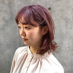 ピンク ボブ ナチュラル ピンクアッシュ ヘアスタイルや髪型の写真・画像
