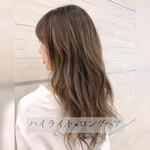 セミロング コントラストハイライト ナチュラル 巻き髪