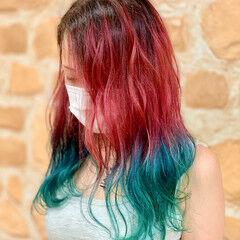 ガーリー 韓国風ヘアー ブルー ミディアム ヘアスタイルや髪型の写真・画像