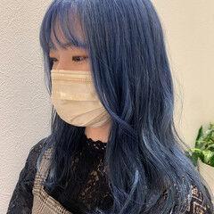ブルーラベンダー ネイビーブルー セミロング ネイビーカラー ヘアスタイルや髪型の写真・画像