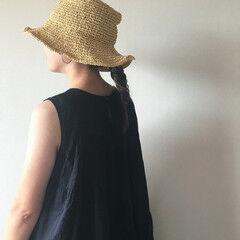 セミロング 簡単ヘアアレンジ フィッシュボーン ナチュラル ヘアスタイルや髪型の写真・画像