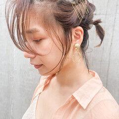 簡単ヘアアレンジ 切りっぱなしボブ ショートアレンジ ミディアム ヘアスタイルや髪型の写真・画像