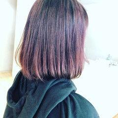 ドライヤー ボブ ピンク ナチュラル ヘアスタイルや髪型の写真・画像
