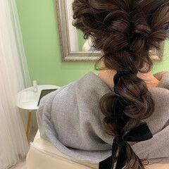 結婚式ヘアアレンジ 編みおろし ヘアセット フェミニン ヘアスタイルや髪型の写真・画像