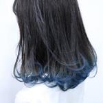 フェミニン グラデーションカラー ボブ ブルー