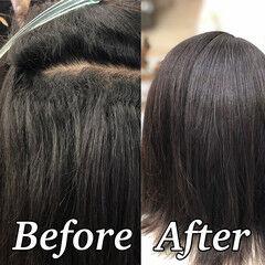 髪質改善トリートメント ボブ 縮毛矯正 ツヤ髪 ヘアスタイルや髪型の写真・画像