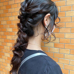 抜け感 ロング 編みおろしヘア ヘアセット ヘアスタイルや髪型の写真・画像