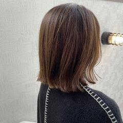 ボブ 地毛ハイライト ナチュラル ミルクティーベージュ ヘアスタイルや髪型の写真・画像