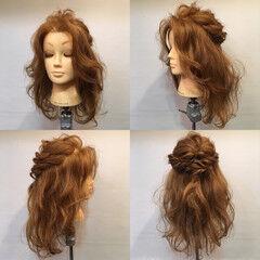 セミロング パーティ ハーフアップ ヘアアレンジ ヘアスタイルや髪型の写真・画像