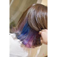 ボブ インナーカラー オーロラカラー インナーブルー ヘアスタイルや髪型の写真・画像