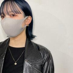 ショートヘア 切りっぱなしボブ モード ネイビーブルー ヘアスタイルや髪型の写真・画像