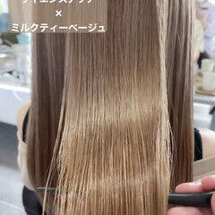 ナチュラル 髪質改善トリートメント サイエンスアクア ミルクティーベージュ ヘアスタイルや髪型の写真・画像