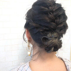 モード ミディアム ヘアセット 編み込みヘア ヘアスタイルや髪型の写真・画像