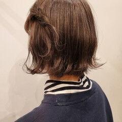 暗髪 簡単ヘアアレンジ 切りっぱなしボブ ヘアアレンジ ヘアスタイルや髪型の写真・画像