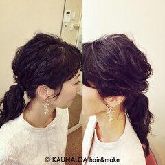フェミニン セミロング ヘアアレンジ ローポニーテール ヘアスタイルや髪型の写真・画像
