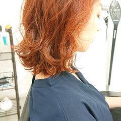 ストリート オレンジカラー 外ハネボブ 透明感 ヘアスタイルや髪型の写真・画像