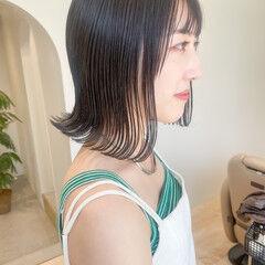 オリーブグレージュ ミニボブ ボブ ミントアッシュ ヘアスタイルや髪型の写真・画像