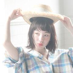 涼しげ フェミニン ボブ ヘアアレンジ ヘアスタイルや髪型の写真・画像