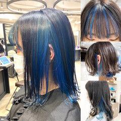 ミディアム ガーリー 韓国ヘア ブリーチ ヘアスタイルや髪型の写真・画像