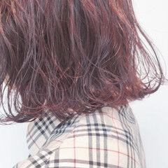 ゆるふわ ピンク ラベンダーピンク レッド ヘアスタイルや髪型の写真・画像