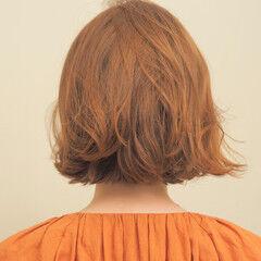 ナチュラル アンニュイほつれヘア ミニボブ オレンジベージュ ヘアスタイルや髪型の写真・画像