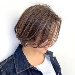 ショートボブ ショート モカベージュ オーガニックカラー ヘアスタイルや髪型の写真・画像
