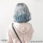 インナーカラー カラーバター ボブ ブルー