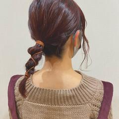 簡単ヘアアレンジ 三つ編み たまねぎアレンジ セルフヘアアレンジ ヘアスタイルや髪型の写真・画像