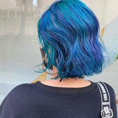 甘辛MIX セミロング ブルーグラデーション アッシュバイオレット ヘアスタイルや髪型の写真・画像
