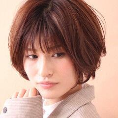 ショート 髪質改善トリートメント 柔らかパーマ フェミニン ヘアスタイルや髪型の写真・画像