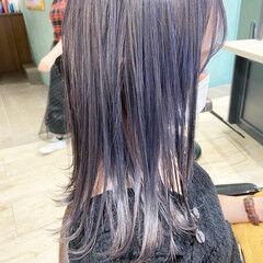 ナチュラル ミディアム バイオレットアッシュ ブルーバイオレット ヘアスタイルや髪型の写真・画像
