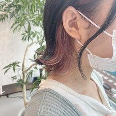 ボブ ベリーピンク 韓国 ラベンダーピンク ヘアスタイルや髪型の写真・画像