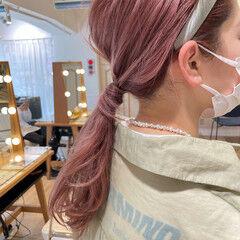 ロング ガーリー ラベンダーピンク ピンクカラー ヘアスタイルや髪型の写真・画像