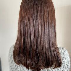 ココアブラウン ブリーチなし ココアベージュ エレガント ヘアスタイルや髪型の写真・画像